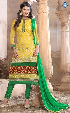 #Sayali #Bhagat Chanderi Cotton Thread Work #Yellow #Unstitched #Straight #Suit