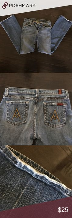 """A"" Pocket Jeans by 7 For All Mankind Preowned - but in good condition. Left pocket has a stain in it and there's minor wear on the lining of the pockets and bottom of the pants. Very comfortable. It's a PETITE size, but it would most likely fit a woman sized 0-2. 7 For All Mankind Jeans Straight Leg"