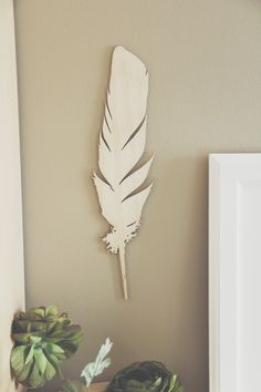 Laser Cut Wood Feather