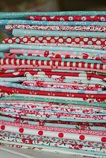 red and turquoise fabric... Love this combo!