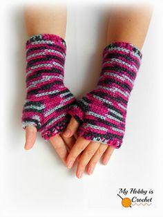 crochet fingerless gloves - free crochet pattern - my hobby is crochet