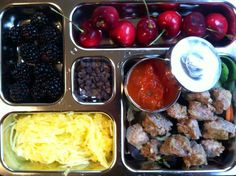 Primal lunch grain-free meatballs with marinara for dipping, spaghetti squash, blackberries, cherries, and enjoy life choc chips