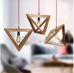 Nordic Wood chandelier Restaurant Cafe Clothing Creative Personality Retro Decorative Triangle Oak Chandelier