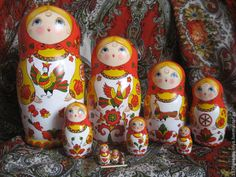 """Severodvinsk Matryoshka 10 local """"Based on the paintings of the Northern Dvina"""" - a bright red"""