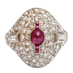 1920s Diamond and Ruby Bombé Ring