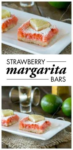 Strawberry Margarita Bars are a fun, on-trend twist to the classic lemon bar and cocktail recipe. Strawberry, lime, and tequila make these taste like your favorite drink in dessert form!