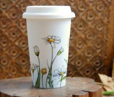 Hand Painted Ceramic Eco-Friendly Travel Mug - Daisies, Botanical Collection - made to order. $45.00, via Etsy.