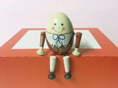 Wooden Hand Painted Signed Humpty Dumpty Egg Shelf Sitter
