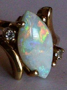 Brilliant 10k Gold Opal Ring - Bypass White Marquise Opal and Diamonds set into a 10 Karat Yellow Gold Ring - Opal Engagement Ring Size 6