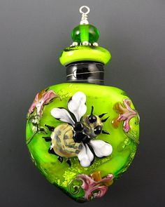 NEW Lampwork Honeybee Perfume Bottle Aromatherapy Vessel