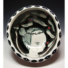 Reduced Price - An Original Painting by Jenny Mendes in a Large Ceramic Salad Bowl - Love and The Birds