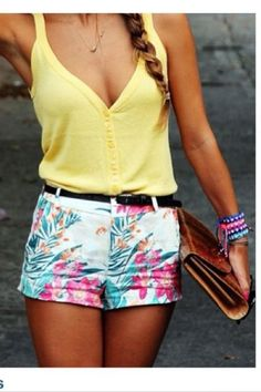 Yellow tank with floral shorts- a cute and bright choice for #spring #fashion