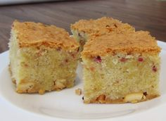 Raspberry blondies made with freeze dried raspberries