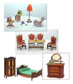 1:12 Dollhouse miniature Bed, chairs,commode,dining furniture,,floor lamp &other