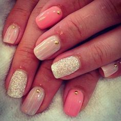 nail art summer 2014....like the neutral look , not the gold dot accent