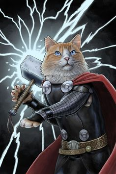 Marvel Celebrated National Cat Day with Purrfect Superhero Cat Art Crazy Cat Lady, Crazy Cats, Thor Cat, National Cat Day, Image Chat, Super Cat, Cat Dresses, Cool Cats, Cat Art