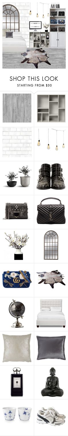 """room inspiration 12"" by sascha-haarup on Polyvore featuring interior, interiors, interior design, home, home decor, interior decorating, Tempaper, Chloé, Jimmy Choo and Yves Saint Laurent"