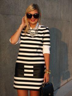 A Visit to Club Monaco Dress c/o Club Monaco | Blouse: Ann Taylor | Necklace: Emerald Bling | Shoes: Zara {old, similar} Sunnies: Karen Walker | Bag: Chanel from Chanel Touch | Watch: Micheal Kors | Bracelets: Lauren Elan, Stella & Dot