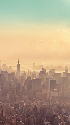 Beautiful New York City Sunrise Haze #iPhone 5 #Wallpaper