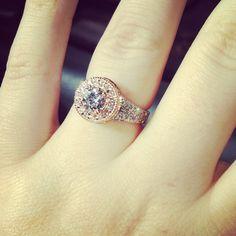 Rosa Gold and Platinum Diamond Engagement Ring.