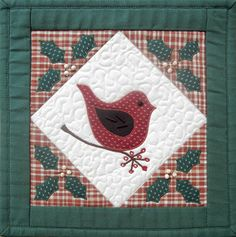 the Christmas cottage house quilt | Ulla's Quilt World: Quilted Christmas bird wall hanging