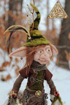 Nog Navidad/Woodland Elf OOAK arte muñeca muy por FairyWillow