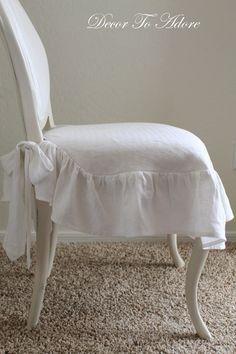 DIY: Ruffled Linen Slipcover (From Dish Towel)