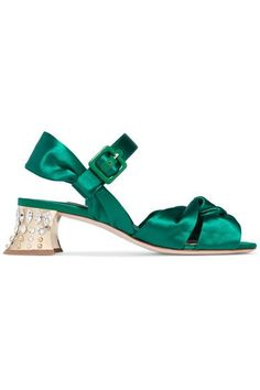 Heel measures approximately 50mm/ 2 inches Emerald satin and leather Buckle-fastening ankle strap Made in Italy
