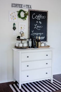 This coffee bar is inspired by the charm of cute little Paris cafes. Click through to find more details and all the coffee bar essentials I used to create this awesome place to fix my morning coffee! Coffee Bar Station, Coffee Station Kitchen, Coffee Bars In Kitchen, Coffee Bar Home, Home Coffee Stations, Tea Station, Coffee Nook, Coffee Corner, Home Bar Essentials