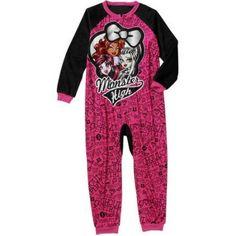 Girls' Monster High 1 Piece Sleeper, Size: Small, Pink