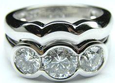 Bezel Set Engagement Rings With Wedding Band 48 3 Diamond Engagement Rings, Bezel Diamond Rings, Engagement Ring Buying Guide, Bezel Ring, Wrap Wedding Band, Wedding Rings Vintage, Beautiful Rings, Fashion Rings, 3 Carat