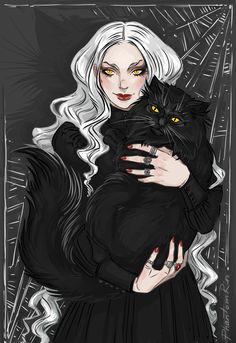 A witch & a cat by Irina Plachkova (phantomrin) Character Inspiration, Character Design, Character Ideas, Black Paper Drawing, Pop Art Wallpaper, Witch Art, Witch Aesthetic, Romance, Dark Fantasy Art