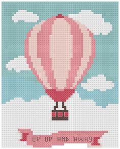 Up up and away Cross Stitch Pattern/cross stitch balloon/baby