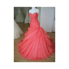 Glamorous Ball Gown Sweetheart Sweep Train Prom Dress ($200) ❤ liked on Polyvore featuring dresses, gowns, long dresses, red gown, long red dress, long prom dresses, red evening dresses and long red evening dress
