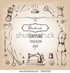 Set of needlework - scissors, measuring tape, mannequin, sewing and . Retro vintage style. Vector illustration.