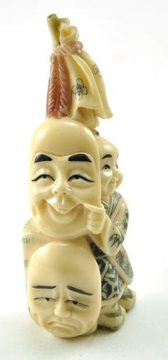 Vintage Chinese Japanese Mini Playful Boy Comedy Mask Resin Hand Carve Figurine   eBay