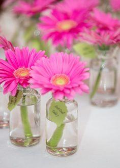 REVEL: Glass Bottle Escort Cards with Pink Gerbera Daisies (Bottle Centerpieces Escort Cards) Lime Green Weddings, Pink Green Wedding, Hot Pink Weddings, Pink And Green, Gerbera Wedding, Wedding Bouquets, Wedding Flowers, Flower Bouquets, Pink Gerbera