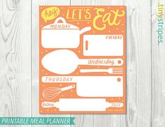 """Weekly MEAL PLANNER Printable 8""""x10"""" - Instant Download on Etsy, $5.00"""
