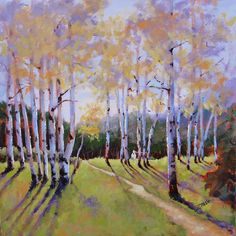 Birch Trees Painting - Landscape Series 3 by Laura Lee Zanghetti