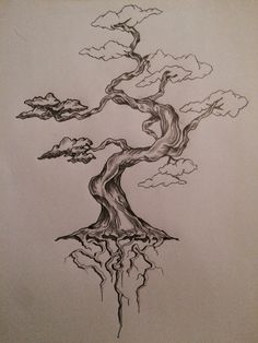 W.I.P (work in progress) bonsai tree tattoo sketch / art / drawing by - Ranz