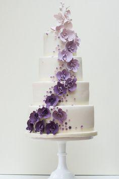 Sugar Moth Orchid (gumpaste), White to Lavendar to purple Fade Wedding Magazine - Lookbook: classic wedding cakes