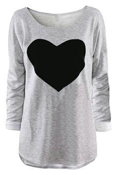 ROMWE | Sweet Heart Grey T-shirt, The Latest Street Fashion #ROMWEROCOCO