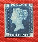 Two Penny Blue, Great Britain, 1840. This was the world's second postage stamp