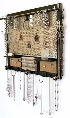 Wall mounted jewelry storage organizer and display - - b .Wall-mounted hanging jewelry storage organizer and display - - beautifuljewel . - Wall-mounted hanging jewelry storage organizer and display - - beautifuljewelr - ad Diy Jewelry Unique, Diy Jewelry To Sell, Diy Jewelry Holder, Jewelry Hanger, Handmade Jewelry, Necklace Holder, Jewelry Stand, Hang Jewelry On Wall, Jewelry Rings