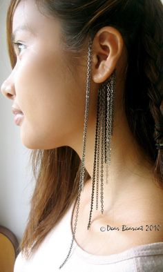 Shades of Grey - Gunmetal Ear Cuff Wrap with Multi Length Draping Chains