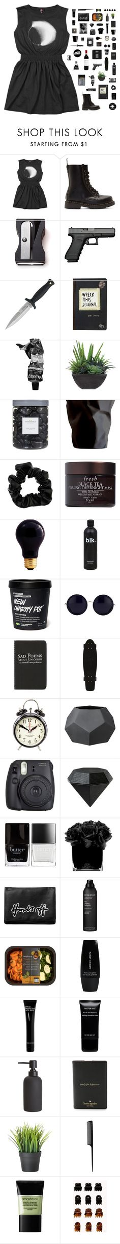 """""""ULTIMATE BLACK SET"""" by taylorswiftie23 ❤ liked on Polyvore featuring Dr. Martens, Monkey Business, Aesop, Lux-Art Silks, Threshold, Polaroid, ESSEY, Miss Selfridge, Fresh and Bulbrite"""