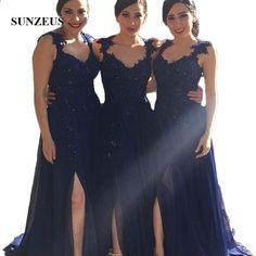 200f8f264e25f 2017 Navy Blue Svatební šaty Plus velikost Arabské Sweetheart Lace  Appliques Beaded Side Split Dlouhé vestido madrinha casamento