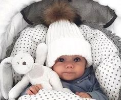 little baby boy bundled up for cold weather during winter