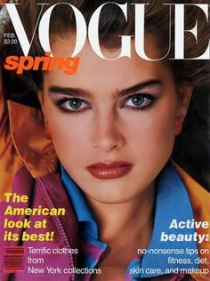February 1980 cover of Vogue. At age 14, Brooke Shields became the youngest model ever to grace the magazine's cover. Photo by Avedon.