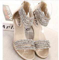 Summer low-heeled bohemian beaded diamond slope with Roman-style flat sandals women big yards